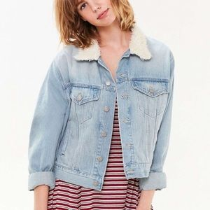 Urban Outfitters Faux Shearling Collar Jean Jacket